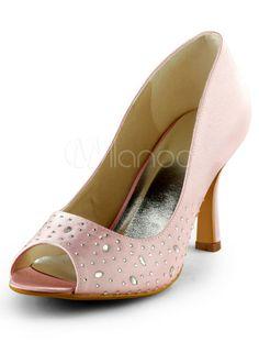 Attraktive Schuhe mit Kunstdiamanten und Stilett Heels in Rosa - Milanoo.com