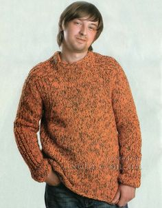 вязаный спицами меланжевый пуловер