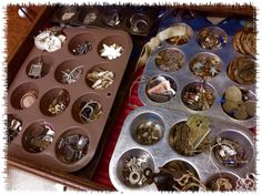 """Muffin tins are super organizers! They hold all my little bits and collections, keeping them separated and organized quite nicely. They are stored in built-in drawers."" ~Denise Johnson  #graphic45 #craftorganization2014"