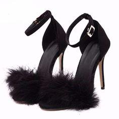 High Heel Fur Feather Buckle Strap Women Sandals