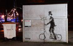 Brunel on a bike. Mud Dock , Bristol.  Street art.