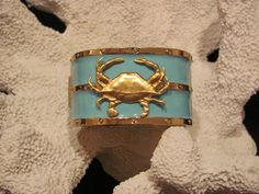 Gold and Turquoise Crab Nautical Bangle Bracelet  beach jewelry preppy by savannahjacks, $45.00