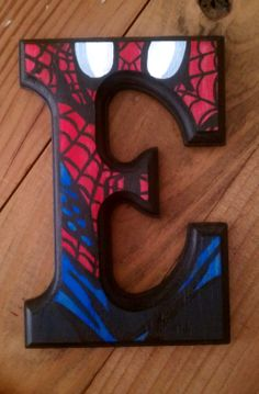 Spiderman  6 Hand Painted Wooden Letters by ArtsyNani on Etsy, $20.00