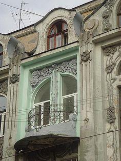 Résidence multi-familiale (circa 1910) Coin de la rue Pushkinska et de Ploshcha Poezii. Kharkov, Ukraine. Architecte : Oleksandr Ginsburg.