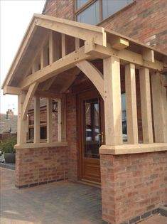 Hand made oak porch by wow. Hand made oak porch by wow. The barn house is a relic of U. background culture that dates back to the . Porch Canopy, Porch Kits, Porch Ideas, Building A Porch, Building Homes, Marquise, House With Porch, House Plans, Pergola