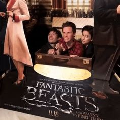 Fun time in IMAX with Ezra, Eddie and Katherine during the Fantastic Beasts promo last November gif
