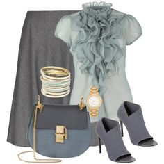 A fashion look from June 2014 featuring Saint Tropez, knee length flared skirts and leather slip on shoes. Browse and shop related looks. Business Casual Outfits, Classy Outfits, Stylish Outfits, Look Fashion, Fashion Outfits, Womens Fashion, Outing Outfit, Eccentric Style, Look Formal
