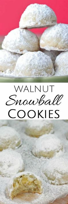 Walnut Snowball Cookies - Recipes to Cook - Yorgo Baking Recipes, Cookie Recipes, Dessert Recipes, Easy Recipes, Snowball Cookies, Holiday Cookies, Christmas Sweets, Christmas Baking, Christmas Stuff
