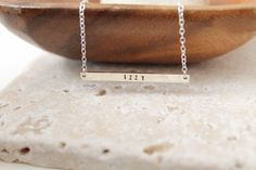 Silver Bar Necklace 38x3mm Skinny Bar Necklace Nameplate