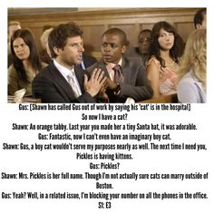 Pickles as an excuse in later episodes (mostly as a distraction so Shawn can go snoop around) Psych Memes, Psych Quotes, Psych Tv, Tv Show Quotes, Real Detective, Shawn Spencer, I Know You Know, Parks N Rec, Great Tv Shows