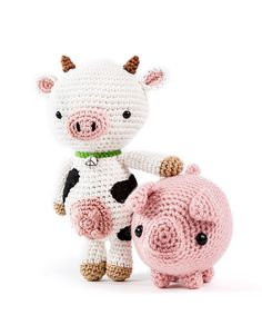 Zoomigurumi 6 - Anita the cow by Airali Designs and Txerri the piglet by Critterbeans - Amigurumipatterns.net
