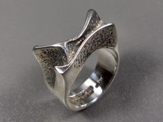 Lapponia vintage 1971 ring, sterling silver, Bjorn Weckstrom, Space Silver, Finland - Björn Weckström Sterling Silber Ring Sirene, seltene Ausführung, datiert 1971, Finnland