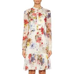 Erdem MATCHESFASHION.COM (€1.370) ❤ liked on Polyvore featuring dresses, flutter-sleeve dress, white ruffle dress, ruffle dress, white floral dress and print dress