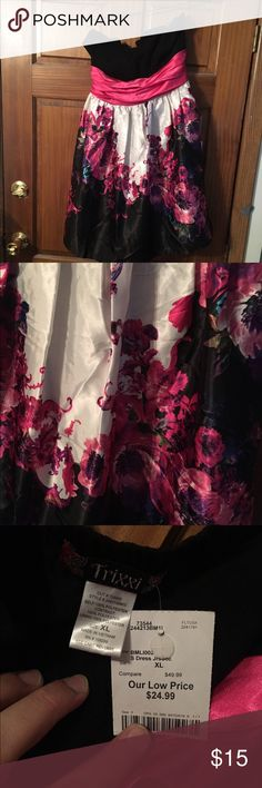 Beautiful Black and Pink Dress with Flower details Very beautiful dress unfortunately I couldn't fit it. Trixxi Dresses