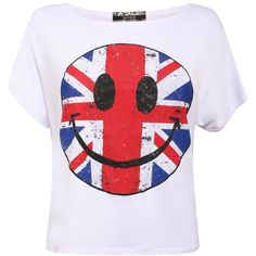 Union Jack Smiley Print Top by Pilot | Pilot (17 BRL) ❤ liked on Polyvore featuring tops, t-shirts, shirts, blusas, white tee, short sleeve shirts, white shirt, oversized t shirt and short sleeve t shirts