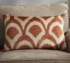 "Carmelia Printed Velvet Pillow Cover 16"" x 26"" #potterybarn"
