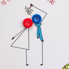 button people kissing under mistletoe Christmas card