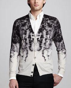 -3QXW Alexander McQueen Ivy-Print Cardigan & Stretch-Poplin Shirt