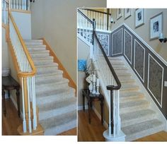 What a neat and inexpensive idea to really improve the appearance of a simple stairway in your home!