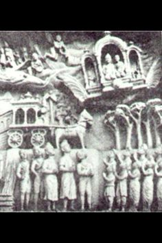 Ancient Vimana carring more than one person. Below it is the horse and buggy. There is no mistaking it, the people knew the difference. This artifact is a part of an ancient temple in India honoring Lord Buddha. #aliens #ufo #viamana #history
