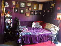 Subtle Goth Bedroom! I definitely have a wall of frames like that in my room! ~ Goth bedroom idea