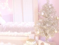 A personal tour of my pink/gold/ girly/vintage holiday room makeover! Pink Christmas Lights, Christmas Kiss, Pink Christmas Decorations, Cosy Christmas, Christmas Bedroom, Shabby Chic Christmas, Whimsical Christmas, Christmas Wonderland, Christmas Holidays