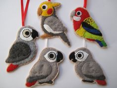 SALE %  5 Parrot Ornaments Three African Greys by curlyfoxShop