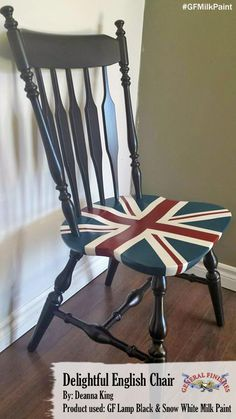 Deanna King painted this Union Jack chair with General Finishes Lamp Black and Snow White Milk Paint. #generalfinishes #gfmilkpaint