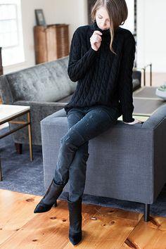 Big Knit Sweater - Black | Emerson Fry