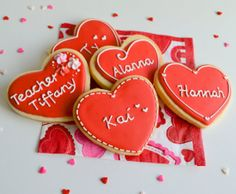 Red Valentine Heart Cookies 1 dozen Personalize by CookieFiesta, $36.00