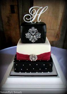 Fondant Wedding Cake in Black, White, and Sangria