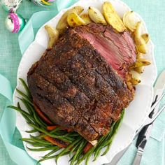 Standing Rib Roast Recipe from Taste of Home. The perfect recipe for special occasions. —Lucy Meyring, Walden, Colorado  #Christmas #dinner