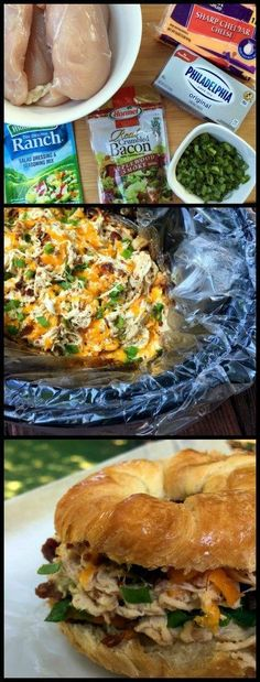 This Slow Cooker Crack Chicken makes THE BEST sandwiches EVER!  What's not to love about chicken with cream cheese, bacon, ranch and cheddar?  SO GOOD!