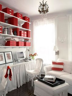 Love this study space. Simple white and red is perfect for any  #cottage