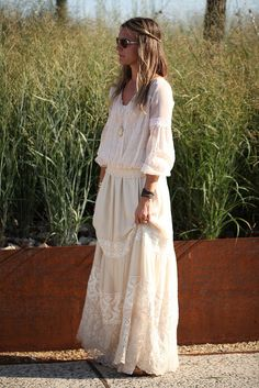 bridesmaids boho style, white embroidered maxi dress