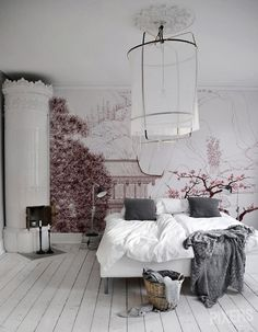 Cherry blossom wallpaper and quirky fireplace. This is gorgeous!