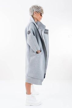 Maxi Coat Winter Coat Long Coat Grey Neoprene Coat Trench