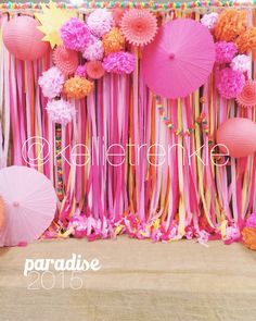 Pink & coral streamers with bright parasols & tissue paper flowers created a sweet backdrop for a dance photo booth! Would be cute for parties, showers, weddings, receptions!  kellietrenkle #event #photographer
