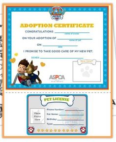Paw Patrol Free printable adoption certificate