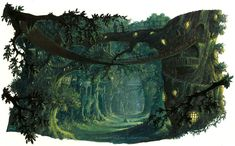 'Tall Tree's' by RalphHorsley on DeviantART {In the brief for this piece I was asked to convey a vast elven/druidic tree city; Tall Trees. I wanted to create a relaxed, atmospheric, feel to the place. Setting it at sunset allowed for the strong slanting yellow light, which helped me pick out the receding form of the trees, whilst adding mood to the setting.}