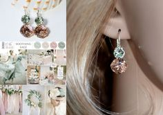 Blush Pink & Pale Green Swarovski Double Crystal Earrings (Sparkle-2632-VRC)…