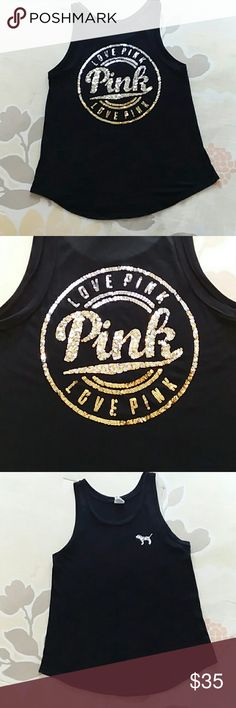 🌟☄FINAL PRICE🌟 PINK OMBRE BLING TANK☄🌟 🌟☄PINK OMBRE BLING TANK☄🌟 EUC, no fading, no missing bling, no stains nearly brand new.  Worn a handful of times and hung dried each time.  Ombre bling silver to gold!!! Super cute!! SMOKE FREE HOME BUNDLE AND SAVE ☄☄☄🌟🎀 PINK Victoria's Secret Tops Tank Tops