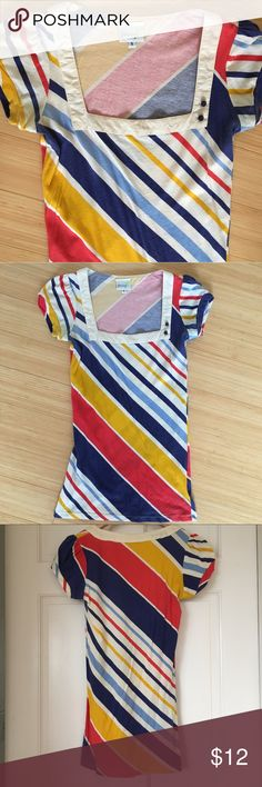 Anthropologie Primary Rainbow Striped Top Size Sm It kills me to admit this doesn't fit anymore, I love it so much! Diagonal stripes in bright primary colors on soft cotton. Square neck and two button detail at the neck. Brand is Porridge from Anthropologie. Original owner, non-smoking home. Anthropologie Tops