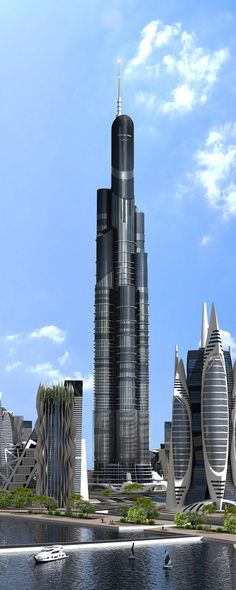 Azerbaijan Tower, Khazar Islands Development, Baku, Azerbaijan by Avesta Group :: 189 floors, height 1050m, proposal for worlds tallest tower