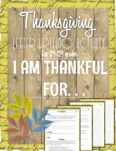 Middle School Thanksgiving Writing Activity: