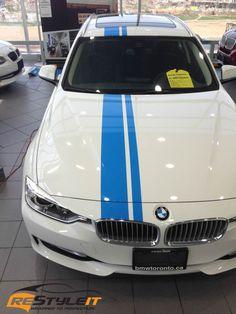Black Chrome Car Wrap   BMW 328i Blue Stripes