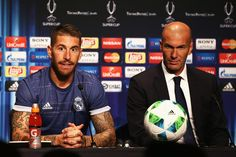 In this handout image provided by UEFA, Sergio Ramos of Real Madrid and coach Zinedine Zidane attend a press conference after the UEFA Super Cup match between Real Madrid and Sevilla at Lerkendal Stadion on August 9, 2016 in Trondheim, Norway. Handout photos provided by UEFA Only editorial use relating to the event described is permitted. Photo may be distributed to third parties to use for the same purpose provided that no charge is made.