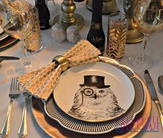 A Dapper Owl Tablescape, a beautiful look for a lovely dinner party.  #owlplates #tablescape #dinnerparty
