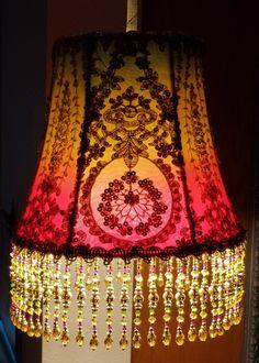 Gorgeous boho beaded hanging lamp at www.elegancelamps.com