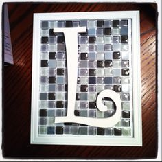 Picture frame-glass tile-wooden letter painted